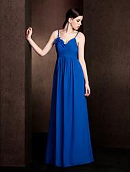 Lanting Floor-length Chiffon Bridesmaid Dress - Royal Blue Plus Sizes / Petite Sheath/Column Spaghetti Straps