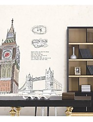 Wall Stickers Wall Decals, Style British Clock Tower PVC Wall Stickers