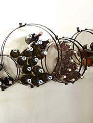 e-FOYER mur d'art de mur en métal décor, casier à vin circulaire mur décor une pcs