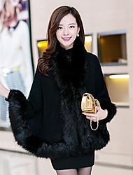 yemao abrigos cuello de piel de ajuste flojo piel temperamento de manga larga de las mujeres