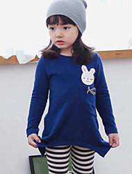 vestido de manga longa pouca impressão coelho irregular doce de menina