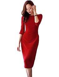 Women's 3/4 Sleeve Backless Slim Slit Dresses