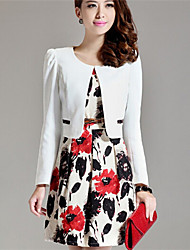 Women's Flower Printing Vest Slim Dresses (Blazer & Dress)