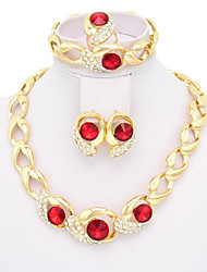 Red Crystal Jewelry Sets Gold Plated Jewelry Set With Gem Stone Necklace For Bridal Bridal Wedding Party A033R