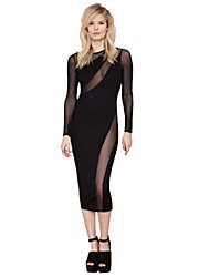 Fashion Mash Sheer Long Sleeveless Bodycon Evening Dress