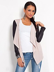 Women's Cardigan Jacket Style Synthetic Leather Sleeve Cardigan