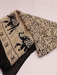 Elephant Pattern Women's Reversible Long Twill Cotton Scarf