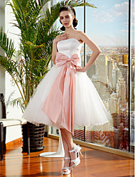 Ball Gown Wedding Dress Little White Dress Knee-length Strapless Tulle with Bow Sash / Ribbon