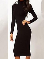 Women's Solid Black Dress , Bodycon Turtleneck Long Sleeve