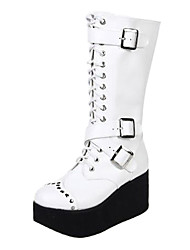 PU 7.5cm cuero zapatos lolita punky plataforma
