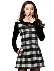 Women's Multi-color Dress , Casual Long Sleeve