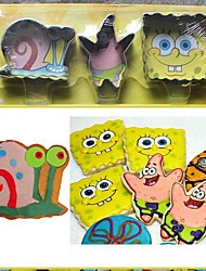 3 Pieces Cartoon Sponge Bob Shape Cookie Cutters Set , Fuirt Cut Moulds, Stainless Steel