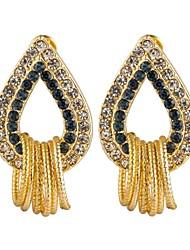 Lan Lan  Woman's Fashion Plating Gold Crystal Edge Earrings