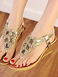 Women's Summer Open Toe / T-Strap Synthetic Dress / Casual Wedge Heel Rhinestone Silver / Gold