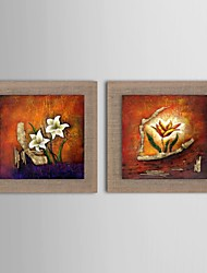 Oil Painting Modern Abstract Flower Set of 2 Hand Painted Natural linen with Stretched Frame