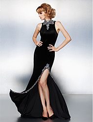 Prom/Formal Evening Dress - Black Sheath/Column High Neck Court Train Velvet