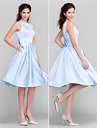 Knee-length Satin Bridesmaid Dress - Sky Blue Plus Sizes / Petite A-line / Princess Bateau