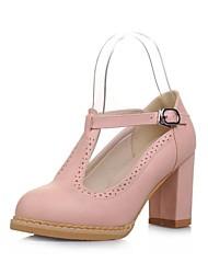 Zapatos de mujer - Tacón Robusto - Punta Redonda - Tacones - Vestido - Cuero - Negro / Azul / Rosa / Blanco
