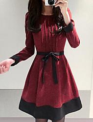 NYO Women's Long Sleeve Slim Fashion Round Collar Tie Tweed Dress