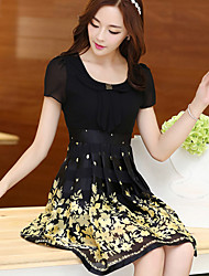Women's Floral Yellow Dress , Casual Round Neck Short Sleeve Pleated
