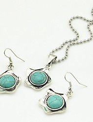 Toonykelly Vintage Antique Silver Plated Little Star Turquoise(Earring and Necklace) Jewelry Set