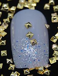 100pcs pavilhão dourado arte rebites de metal quadrado decoração de unhas