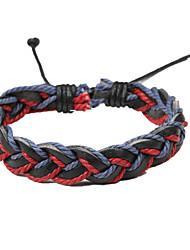 verstelbare mannen lederen zachte armband donker rood en blauw gevlochten leren (1 stuk)