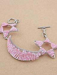 Fashion Hand-woven Copper Glass Tube Star Bracelets Random Color
