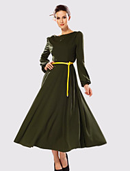 Women's Party/Cocktail Vintage Dress,Solid Maxi Long Sleeve Beige / Green Summer / Fall / Winter