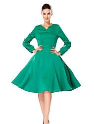 женские падение твердых темперамент элегантный rretro greenddress V-образным вырезом Llong рукавами талии ремни платье