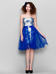 Cocktail Party Dress - Royal Blue Plus Sizes / Petite Sheath/Column Strapless Knee-length Lace / Tulle