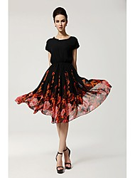 LS Women's Fashion Casual Floral Print Dress