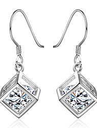 Concise Silver Plated Clear Crystal Water Cube Drop Earrings for Party Women Jewelry Accessiories