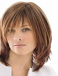 color de la mezcla sin tapa longitud media de alta calidad peluca de pelo natural recta sintética con plena explosión