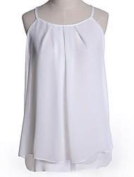 kvinnors sexiga chiffong av axeln enfärgad skjorta