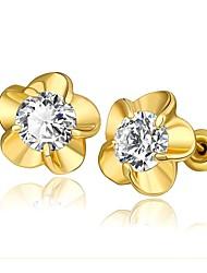 moda cristal flor de ouro brincos folheados a ouro do parafuso prisioneiro (dourado) (1pair)