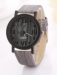 Women's Roman Numerals Digital Round Table Pure Color Teak Strap  Watch C&D-360