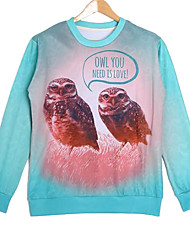 Men's Cotton Long Sleeve 3D Owl Printed Autumn Hip Pop Sweatshirts