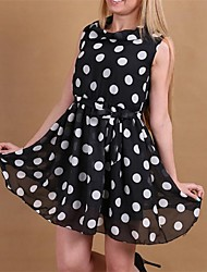 Women's Polka Dot White/Black Dress , Plus Sizes Cowl Sleeveless
