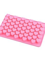 55-slot molde molde de la bandeja para hornear la torta de silicona en forma de corazón galleta utensilios para hornear (de color rosa)