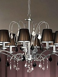 Cloth Lamp Shade Crystal Chandelier  8 Lights