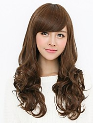 Big Curly Synthetic Hair Machine Made Wig for Women with Side Bang