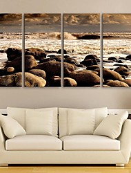 E-HOME® Stretched Canvas Art The Sea Beach Decorative Painting Set of 4