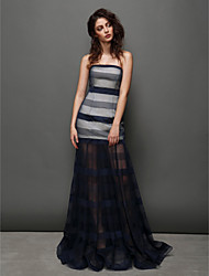 TS Couture Prom / Formal Evening Dress - Dark Navy Fit & Flare Strapless Sweep/Brush Train Tulle