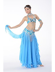 Belly Dance Outfits Women's Performance Chiffon / Sequined Buttons / Paillettes / Pattern/Print / Sequins 3 Pieces Sleeveless DroppedTop