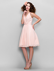 Knee-length Chiffon Bridesmaid Dress A-line V-neck with Beading / Lace / Criss Cross