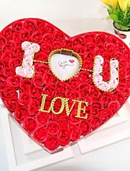 Valentinstag Geschenk 100 leuchtende rosafarbene Seifenblume mit herzförmige Schachtel