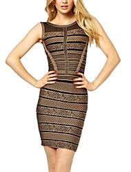 PinkQueen® Women's Spandex Brown Gorgeous Print Bandage Dress