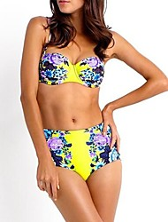 Women's Sexy Beatiful National Flower Pattern Bikini Swimsuit Set