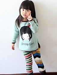 Girl's Green / Pink Blouse Cotton Winter / Spring / Fall